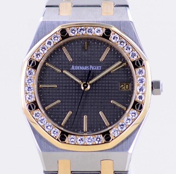 Royal Oak Stahl Gold 36mm Date Diamonds Bezel Top Luxus Klassiker grey Dial