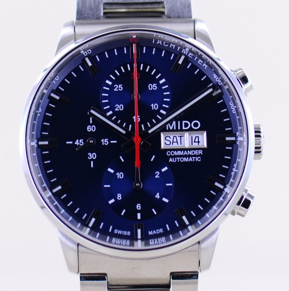 Commander II blue Dial DayDate Edelstahl Automatik Chronograph 42,5mm B+P