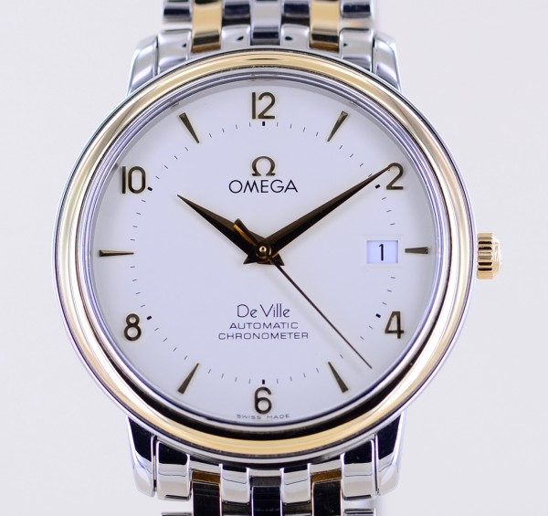 Omega DeVille Prestige Stahl- Gelbgold Co-Axial Chronometer white Dial Automatic B+P