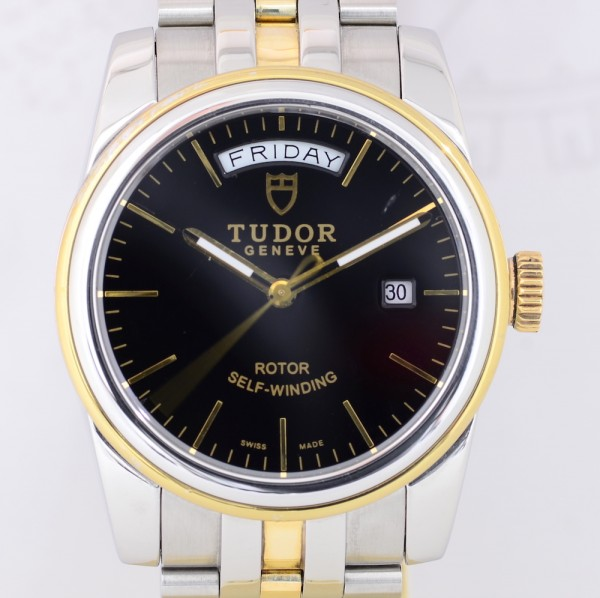 Tudor Glamour Day-Date Stahl Gold black dial Klassiker 39mm