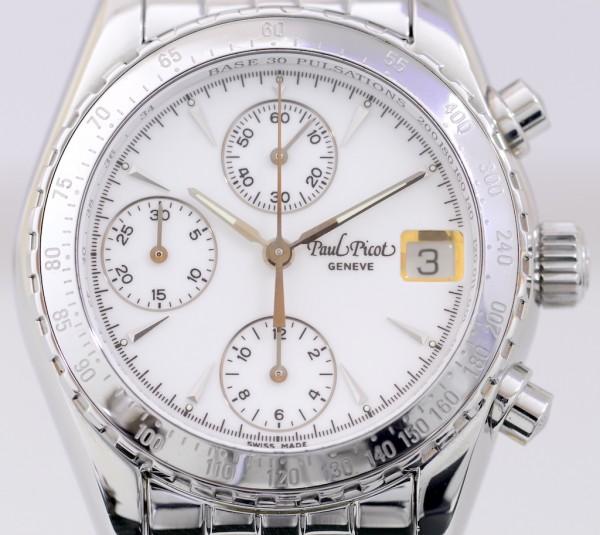 Paul Picot Minichron Chronograph Edelstahl white dial Unisex Stahlband Automatic