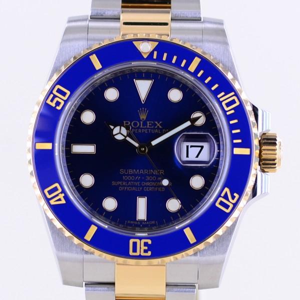 Submariner Stahl Gold Blue Date Keramik 116613LB Taucheruhr B+P Topzustand