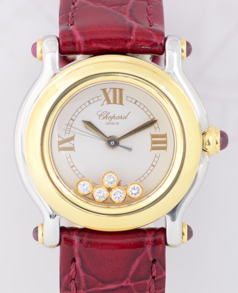 Happy Sport Flying Diamonds medium Lady Quarz Stahl Gold red Saphir Luxus Top
