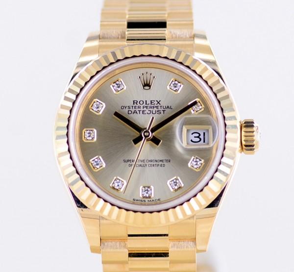 Datejust 18K Gelbgold Champagner Diamond Factory Dial 28mm LC100 rar B+P