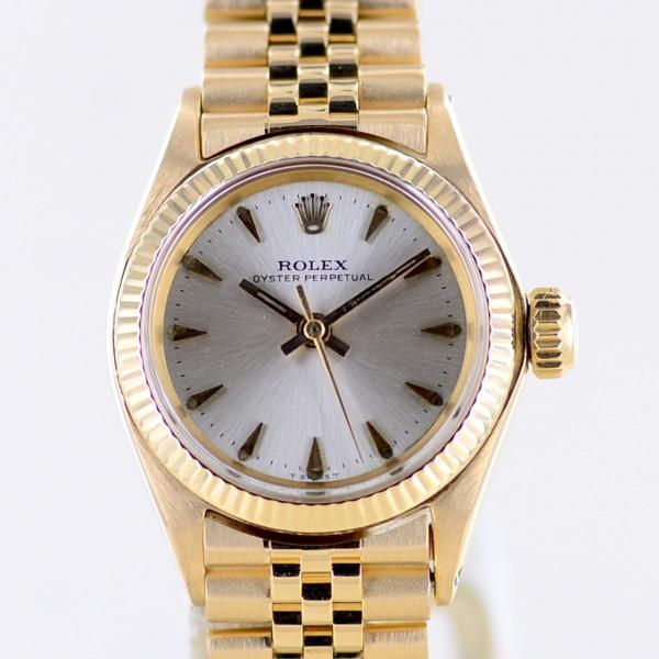 Oyster Perpetual Lady 18K Gelbgold Silver dial 25mm Jubiléband rar