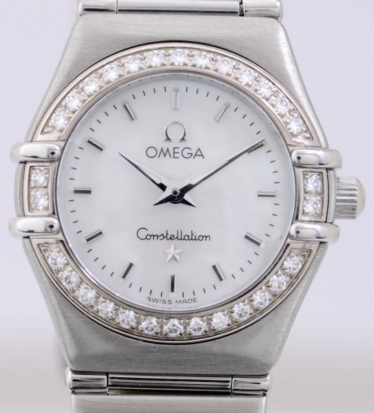 Omega Constellation Weißgold Diamond Bezel MOP Dial Quarz Lady