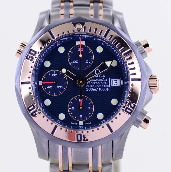 Seamaster 300m Chronograph blue Dial Automatic 41.5 mm Titan Roségold Tantal
