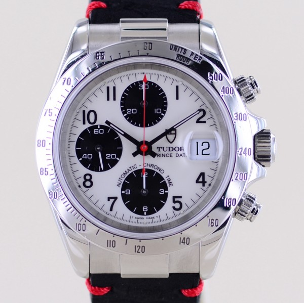 Prince Date Chronograph White Panda arabic Dial 79280 Automatic red Hand