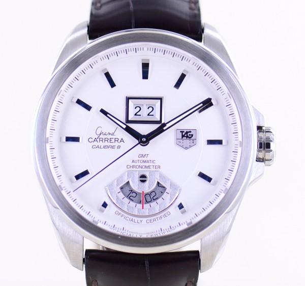 Grand Carrera GMT Calibre 8 Edelstahl Big Date White Sportlich Lederband