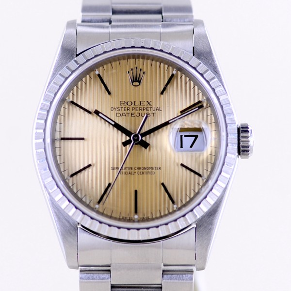 Datejust Saphirglas Tapestry dial Oyster Stahl TOP Vintage 1996 Patina