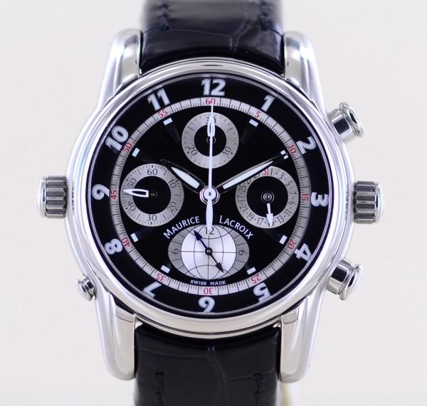 Masterpiece Chrono Globe GMT Automatic Chronograph black Dial 43mm Papiere