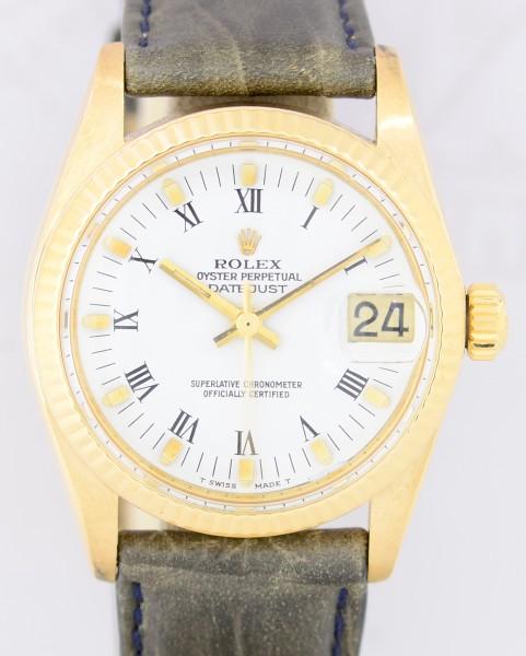 Medium Datejust 18K Gelbgold white dial 31mm Lady roman Klassiker 1980