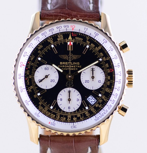 Navitimer 42 mm Chronograph 18K Gold Black Dial Automatic Date rar
