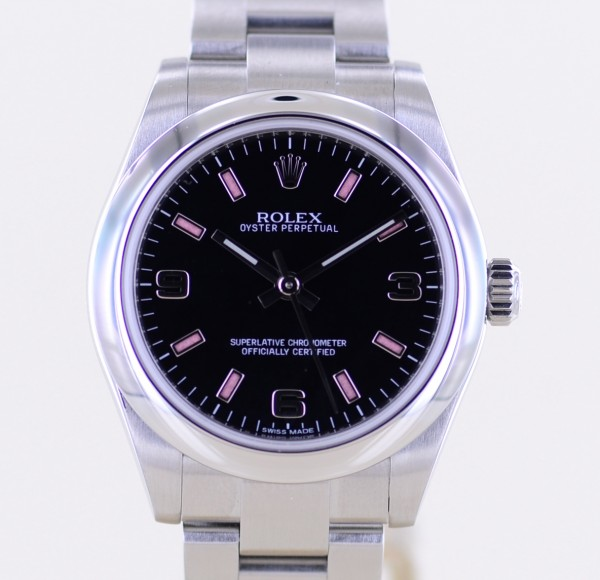Oyster Perpetual rehaut 31mm Oysterband 177200 black Dial No Date Pink Index