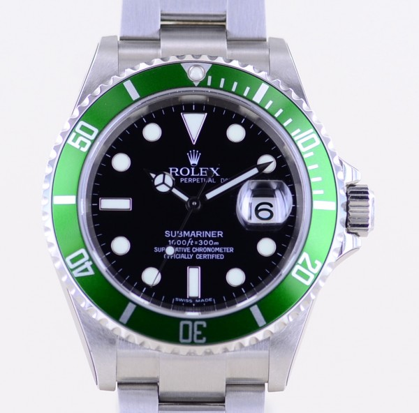 Submariner Date 16610 LV Kermit Green verklebt NOS 50th Anniversary B+P rar