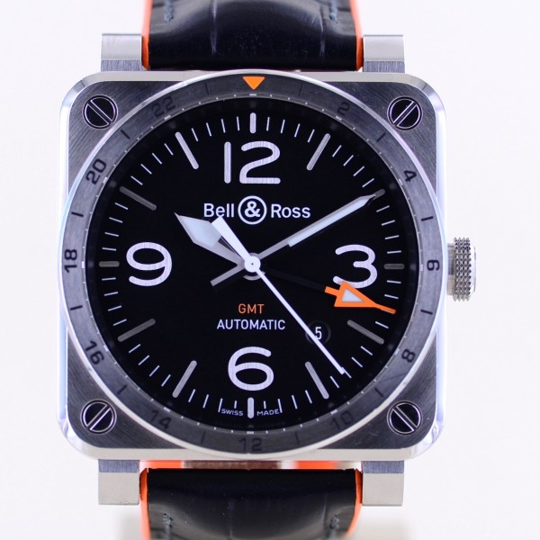 BR03 GMT Automatic 42mm Orange Hand Vintage Dial Date Steel Fliegeruhr B+P