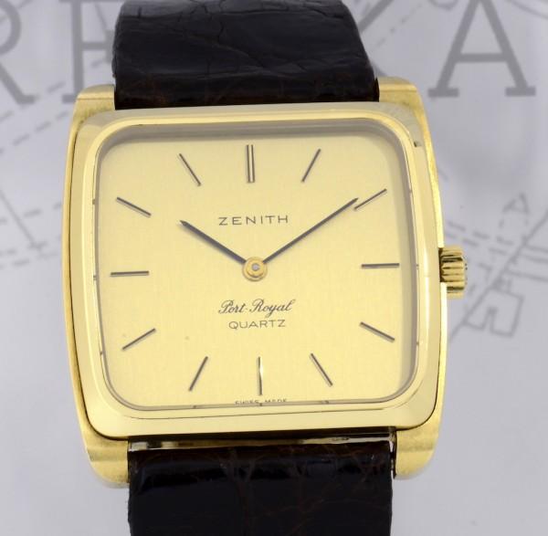 Zenith 18K Gold Square Port Royal Vintage Dresswatch Unisex rar