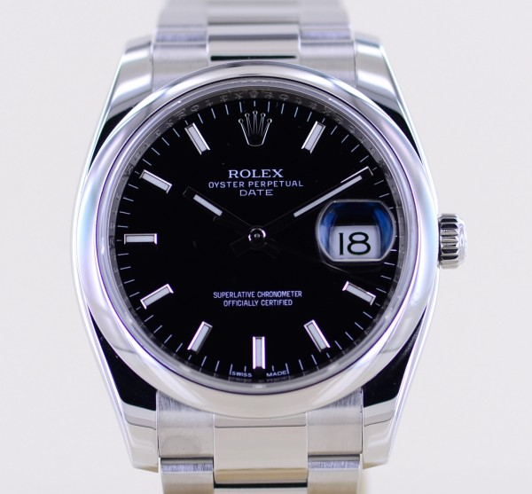 Date black 34mm Stick Dial Oysterband Steel 115200 Automatic