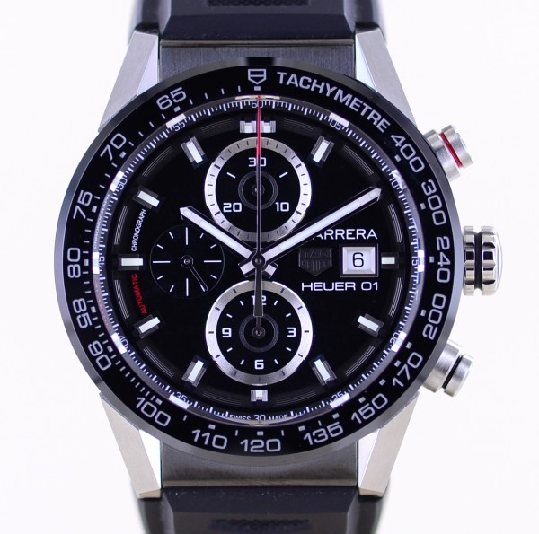 Carrera Date Chronograph Heuer 01 Black Ceramic 43mm Automatic B+P neu