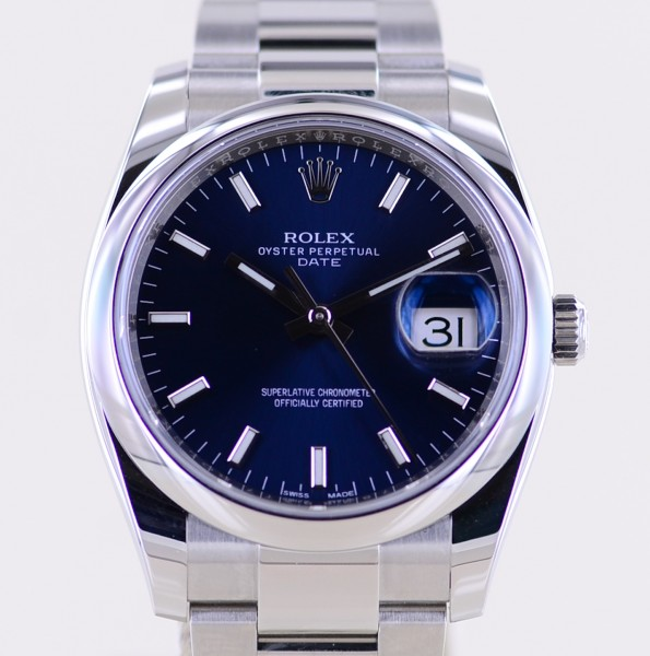 Date blue 34mm Stick Dial Oysterband Steel 115200 Automatic B+P Top