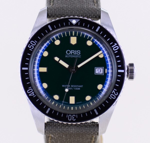 Oris Sixty-Five 65 Automatic 42mm Heritage Green Steel Diver 2019 B+P