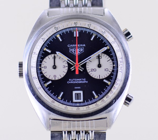 Heuer Carrera Chronograph Automatic 38,5 mm Black Vintage Cal. 12 Papiere 1971
