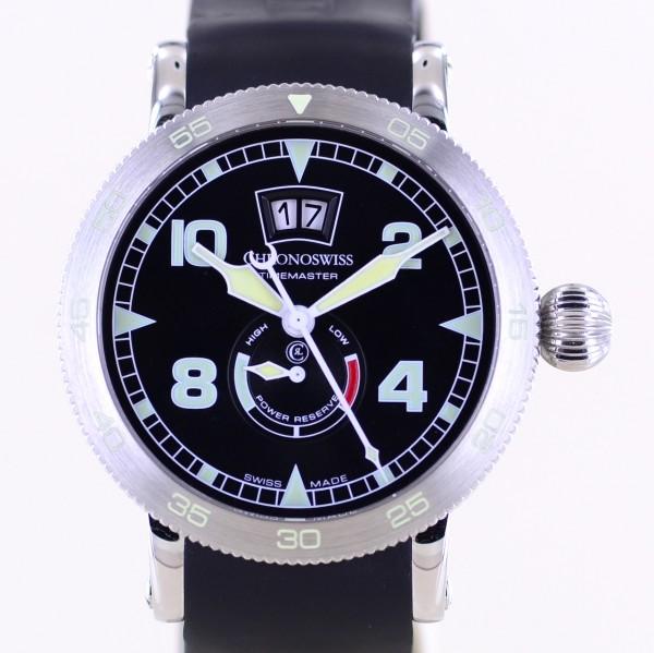 Timemaster Big Date Automatik Edelstahl Diver black Power Reserve 45mm Sport