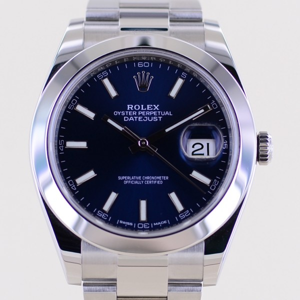 Datejust 41 blue Stick Dial 2017 B+P 126300 Automatic Oysterband Top
