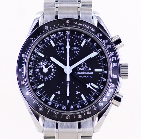 Speedmaster Automatic Chronograph Triple Date black dial 39mm Stahlband B+P