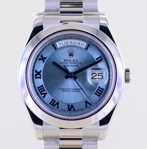 DayDate II Platin PT Polished bezel 41mm Ice blue Automatic Luxusuhr