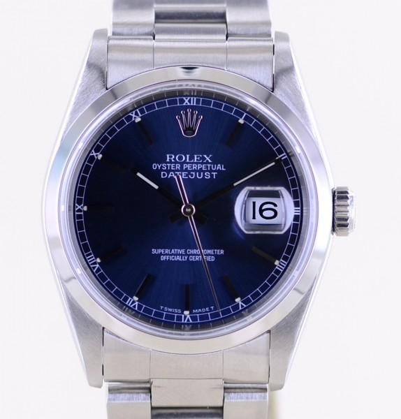 Datejust 16200 Saphirglas blue dial Oysterband Stahl Automatik B+P LC100
