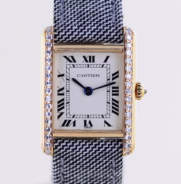 Tank Louis Lady 18K Gold Klassik Dresswatch Faltschließe Factory Diamonds Luxusuhr