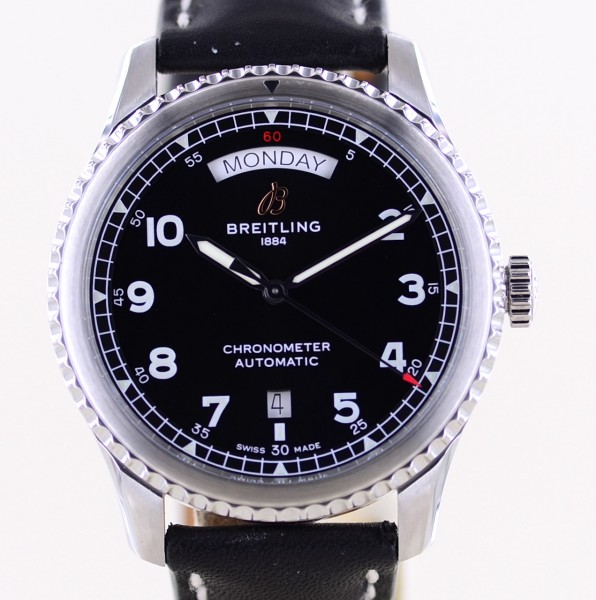 Navitimer Aviator 8 Day & Date Stahl 41mm black dial Automatic B+P