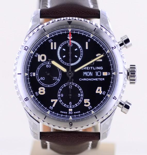 Aviator 8 Chronograph Stahl 43mm black dial Automatic ungetragen B+P