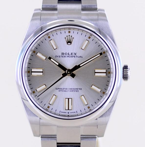 Oyster Perpetual silver Dial Rehaut 2021 silber 41mm 124300 ungetragen B+P