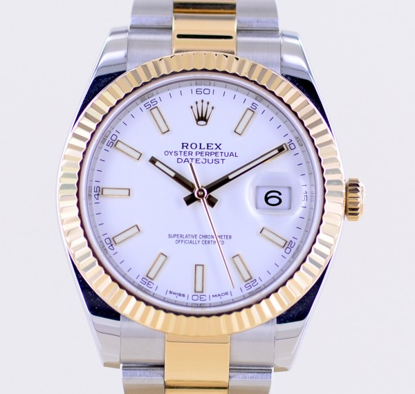 Datejust 41 Stahl Gold Jubilé white Dial 126333 Fluted Bezel Oysterband