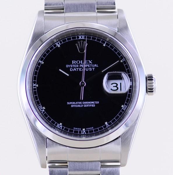 Datejust 16200 Saphirglas black dial Oysterband Stahl polished bezel Automatik