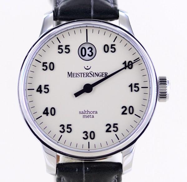 Salthora Meta Ivory Dial Stahl 43mm Elfenbein Einzeiger Datum Glasboden Top