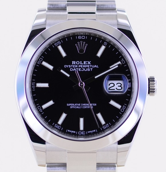 Datejust 41 black Stick Dial 2018 B+P 126300 Automatic Oysterband Top