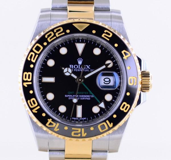 GMT Master II 116713LN black Oysterband Keramik Stahl Gold B+P LC100