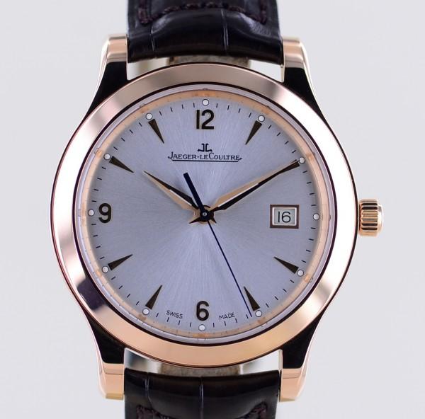 Master Control Date 18K Roségold Dresswatch 40mm Lederband Faltschließe Box
