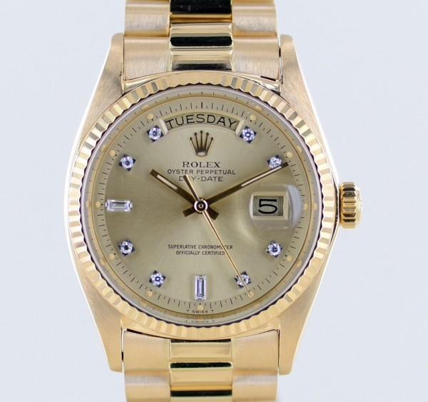 Rolex DayDate 18K Gelbgold golden Diamond Dial Präsidentband 1972 Papiere rar