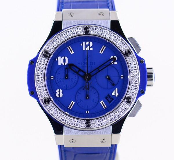 Big Bang Tutti Frutti Diamond Bezel Blue Dial Rubber Strap Luxury Ladies 41mm