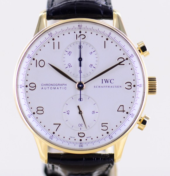 18K Portugieser Chronograph Gold 41mm silver Dial Faltschließe Dresswatch