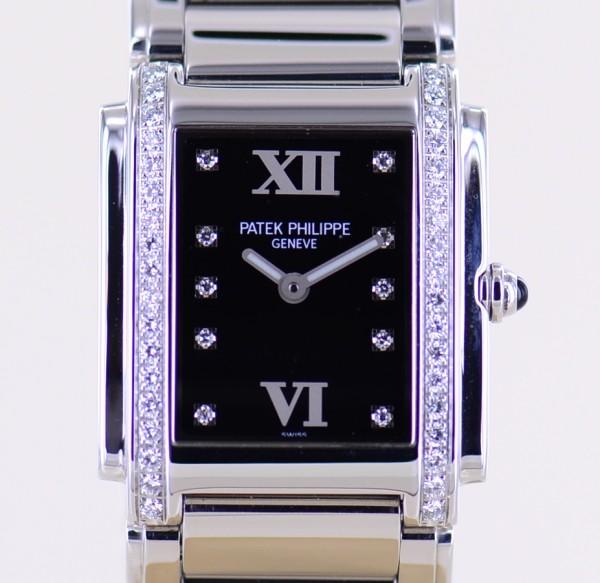 Twenty 4 Four 4910 Stahl Diamond Lady Klassiker Quartz Steel black Dial B+P