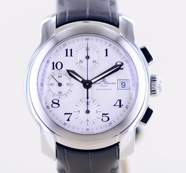 Capeland Stahl Chronograph silver Dial Automatic Lederband Klassiker