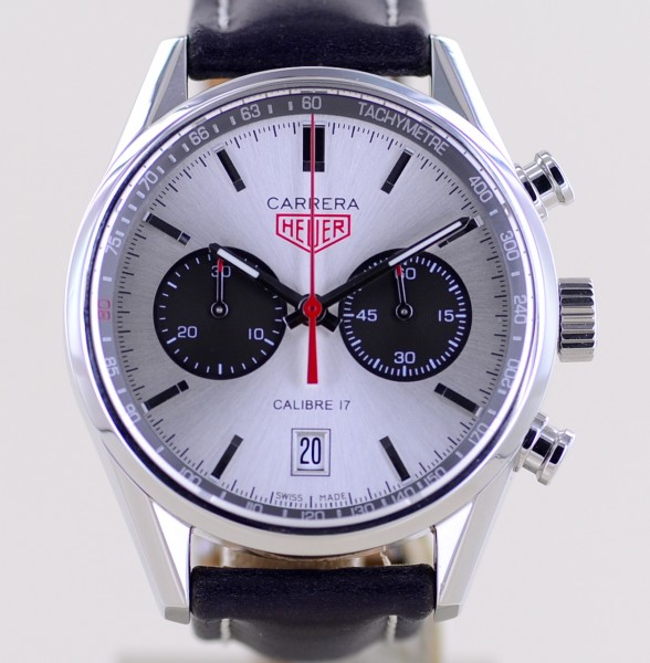 Carrera Jack Heuer Chronograph 41mm Limited Silver Dial B+P