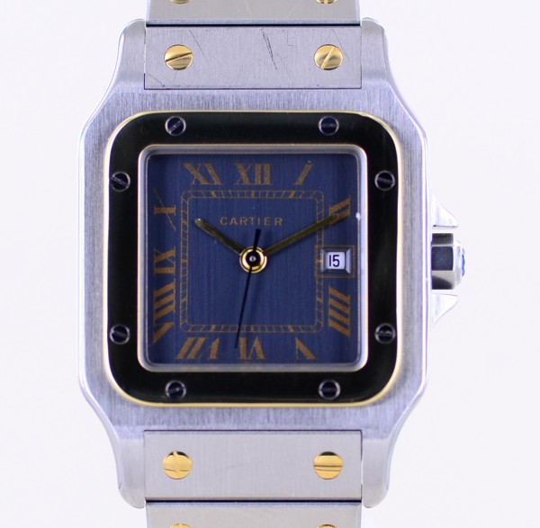 Santos Galbée Stahl / Gold grey dial Klassik Automatik Unisex Box Papers Top