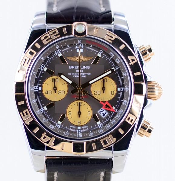 Chronomat 44mm GMT B01 Manufaktur Stahl-/Roségold Lederband brown dial B+P