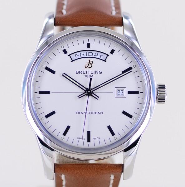 Transocean Day-Date Stahl 43mm silver dial Klassiker Dresswatch B+P Automatic